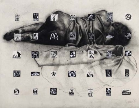 Shaifuddin Mamat, Larger Than Life: Conditioning, 2009, Charcoal, silkscreen ink, collaged fabric on canvas, 160 x 205 cm