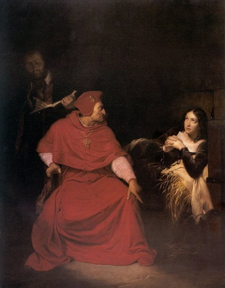 Joan of Arc is interrogated by The Cardinal of Winchester in her prison (1824) By Paul Delaroche